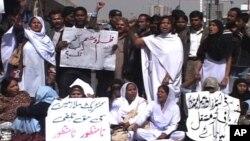 کراچی میں طبی عملے کا احتجاج