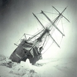 The Endurance trapped on Antarctic ice