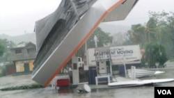 海地尼佩区米拉哥内市一个加油站的顶部倒塌(2016年10月3日)