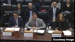 미국의 전문가들이 13일 하원 외교위원회 산하 아시아태평양 소위원회가 주최한 청문회에 출석해 증언하고 있다.