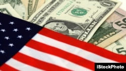 The stars and stripes with dollar bills of the USA/goverment ad