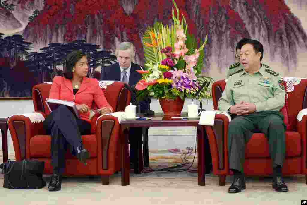 U.S. National Security Adviser Susan Rice talks with Fang Changlong, vice chairman of the Central Military Commission at Bayi Building, in Beijing, Sept. 9, 2014.