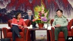 2014年9月9日,美国国家安全顾问苏珊•赖斯在北京会晤中共中央军委副主席范长龙