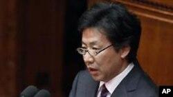 24일 국정연설에서 발언하는 아즈미 준 일본 재무장관