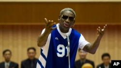 FILE - Dennis Rodman sings Happy Birthday to North Korean leader Kim Jong Un before an exhibition basketball game at an indoor stadium in Pyongyang, North Korea, Jan. 8, 2014.