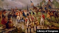 """Burgoyne's surrender at Saratoga"" by artist Percy Moran, c1911"