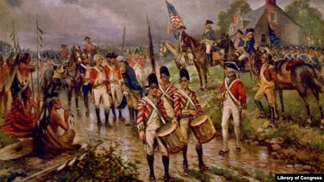 """Burgoyne's surrender at Saratoga"" by artist Percy Moran, c1911"