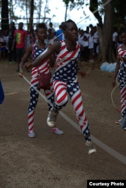 Abdoule Camara, not shown, buys uniforms – including this star-spangled version – for the 30 girls he coaches. (Courtesy photo / International Medalist Association)