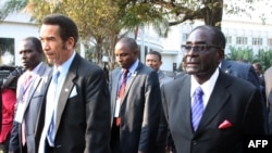 FILE - Botswana President Ian Khama (L) walks alongside Zimbabwe President Robert Mugabe (R) during a lunch break at the SADC summit in Maputo, June 15, 2013.