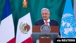 Presiden Meksiko Andres Manuel Lopez Obrador di Mexico City, 29 Maret 2021. (Foto: Kantor Presiden Meksiko)