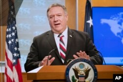 Secretary of State Mike Pompeo speaks during a news conference at the State Department, March 17, 2020, in Washington.