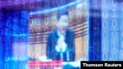 在溫州世界互聯網大會上,一個有數字式裝飾的屏幕顯示著中國領導人習近平。(2020年11月23日)