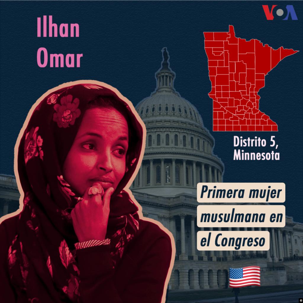 Ilhan Omar, legisladora demócrata del estado de Minnesota, y Rashida Tlaib (Michigan), son las primeras mujeres musulmanes en conseguir un escaño del Congreso de Estados Unidos. Omar, quien también es la primera candidata de origen somalí en llegar a esas instancias, ha abogado por reformas en control de armas, acceso a la salud y una política migratoria más inclusiva y humanitaria.