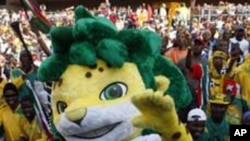 Zakumi, the 2010 World Cup mascot, is seen during the opening ceremony of the Confederations Cup soccer tournament at Ellis Park Stadium in Johannesburg, South Africa, Sunday, June 14, 2009. The tournament will run until June 28. The name Zakumi is a comp