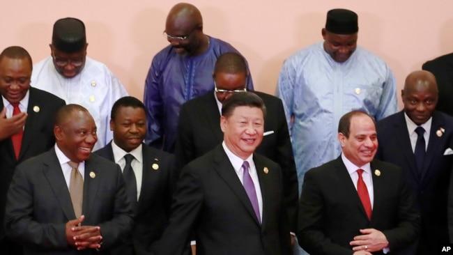 中国国家主席习近平与非洲领导人出席中非合作论坛北京峰会(美联社2018年9月)