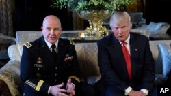 FILE - President Donald Trump listens to remarks by national security adviser H.R. McMaster, at Trump's Mar-a-Lago estate in Palm Beach, Fla, Feb. 20, 2017.