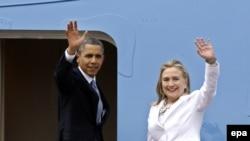 Shugaban Amurka Barack Obama da Hillary Clinton 'yar takarar shugaban kasa a karkashin jam'iyyar Democrat