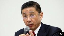 Nissan Motor Co. Chief Executive Hiroto Saikawa speaks during a press conference in Yokohama, near Tokyo, Dec. 17, 2018.