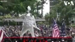 تجمع هزاران نفر در مقابل کنسولگری آمریکا در هنگکنگ
