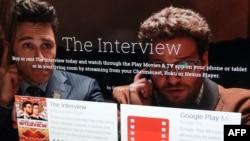谷歌应用程序商店里显示有索尼电影《采访》的购买页面
