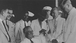 President Franklin Roosevelt aboard the U.S.S. Indianapolis in Trinidad, 1936