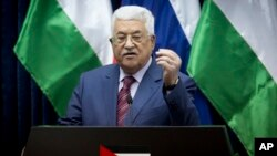 FILE - Palestinian president Mahmoud Abbas speaks during a press conference.