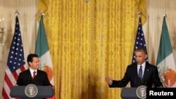 美国总统奥巴马与墨西哥总统捏托在白宫举行联合记者会。(2016年7月22日)