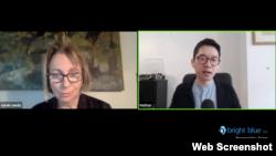 羅冠聰2月18日在英國智庫Bright Blue舉辦的網絡對話會上闡述如何應對中國(視頻截圖)