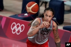 United States basketball player Brittney Griner takes practice at the 2020 Summer Olympics, July 24, 2021, in Saitama, Japan.