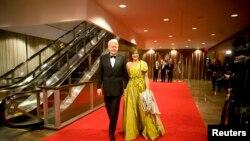 Le président Olafur Ragnar Grimsson et sa femme Dorrit Moussaieff à New York en 2011.