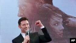 "Actor Hugh Jackman speaks during the Japan premiere of his film ""Logan"" in Tokyo, May 24, 2017."
