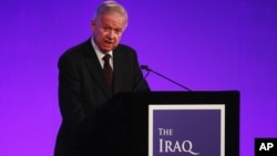 Sir John Chilcot presents the Iraq Inquiry Report at the Queen Elizabeth II Centre in London, July 6, 2016.
