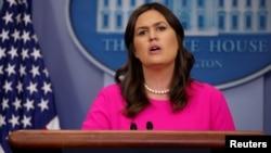 새라 허커비 샌더스 미국 백악관 대변인이 9일 정례브리핑에서 북한 문제 등에 관해 언급했다.