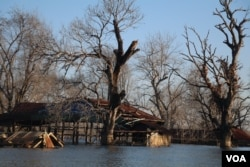 Dozens of villagers' houses in Srekor village submerged above water due to flooding caused by the 400-megawatt Lower Sesan 2 Dam, in Stung Treng provicne, Nov 28, 2018. (Sun Narin/VOA Khmer)