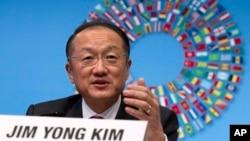 김용 세계은행 총재가 지난 4월 워싱턴에서 열린 IMF/세계은행 연차총회에서 연설하고 있다. (자료사진)