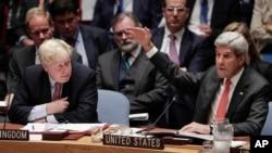 Menteri Luar Negeri Amerika John Kerry (kanan) pada sidang DK PBB hari Rabu (21/9).