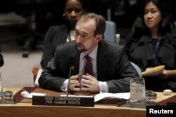 자이드 라아드 알 후세인 유엔 인권최고대표가 10일 안보리 북한인권 회의에서 발언하고 있다.