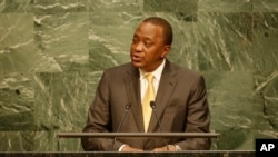 Kenyan President Uhuru Kenyatta addresses the 2015 Sustainable Development Summit, Friday, Sept. 25, 2015 at United Nations headquarters.
