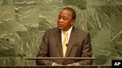 Kenyan President Uhuru Kenyatta addresses the 2015 Sustainable Development Summit, Friday, Sept. 25, 2015 at United Nations headquarters.