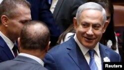 Perdana Menteri Israel Benjamin Netanyahu menghadiri upacara pelantikan anggota Knesset, atau parlemen di Yerusalem, 30 April 2019.
