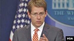 Jurubicara Gedung Putih Jay Carney menyatakan kekecewaan atas penolakan Kongres untuk menyetujui misi di Libya.
