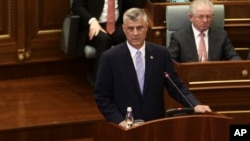 Kosovo's new president Hashim Thaci addresses lawmakers after a swearing-in ceremony at the Parliament in Pristina, April 7, 2016.
