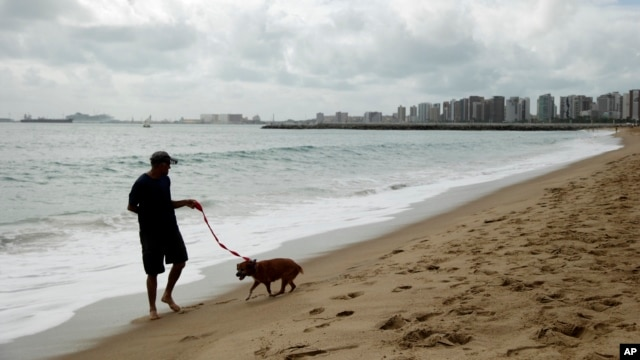 A man walks his dog on the beach during the 2014 soccer World Cup in Fotaleza, Brazil, June 17, 2014.