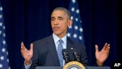 El presidente Barack Obama habla en la Conferencia de Jefes de Misiones Diplomáticas en el Departamento de Estado, en Washington D.C.