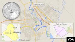 Mapa Bagdada sa naglašenom lokacijom četvrti Bab al-Šarki, gde se nalazi i pijaca na kojoj su danas eksplodirale dve bombe