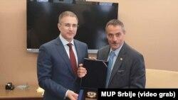 Ministar unutrašnjih poslova Nebojša Stefanović sa Tomasom Galatijem, šefom obaveštajnog biroa policije Njujorka (foto: MUP Srbije)
