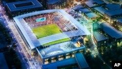 Esta es una imagen artística de lo que podría ser el estadio del DC United, proyectado para inaugurarse en 2016.