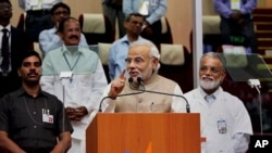 Indian Prime Minister Narendra Modi speaks after the successful launch of the Polar Satellite.