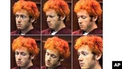 Các biểu hiện trên khuôn mặt của James Holmes khi xuất hiện trước Tòa án quận Arapahoe, ở Centennial, Colorado, 23/7/2012