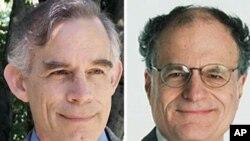 노벨 경제학상 수장자 토마스 살전트 교수(우)와 크리스토퍼 심스 교수